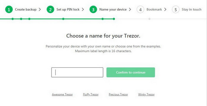 Choose a name for Trezor