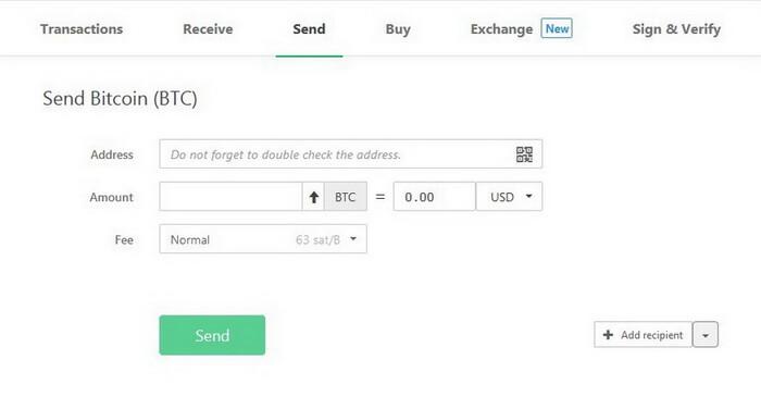 Отправить Bitcoin
