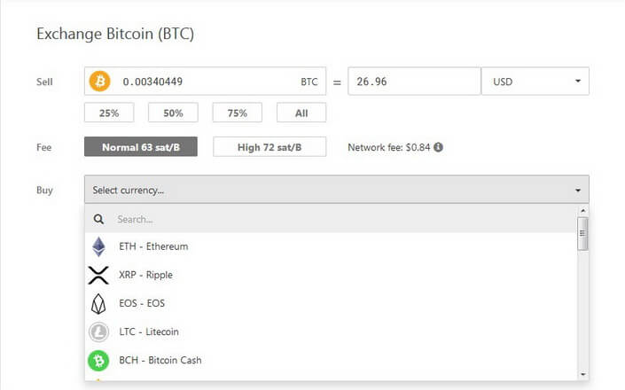 Exchange Bitcoin on Trezor