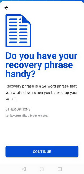your recovery phrase