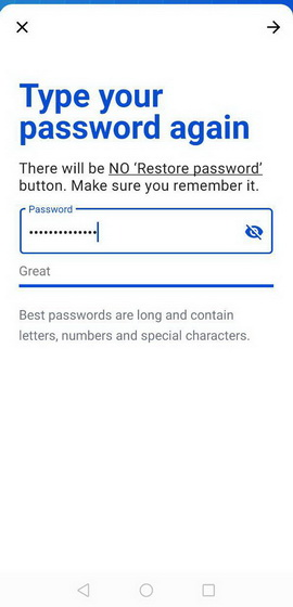 type your password again