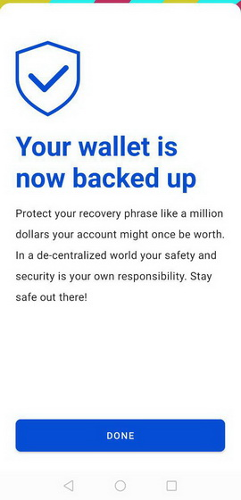 your wallet is now backed up