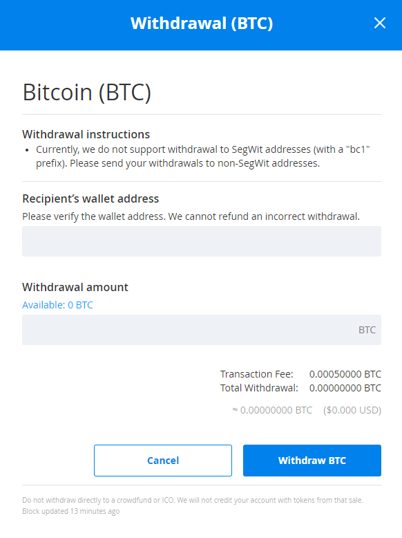 Withdrawal BTC
