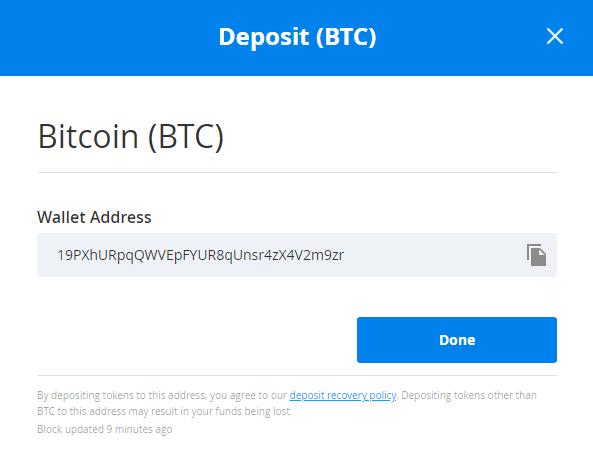 Deposit Bitcoin into Bittrex