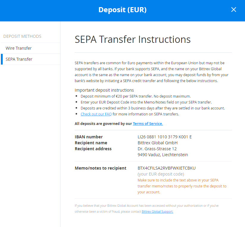 SEPA transfer instructions
