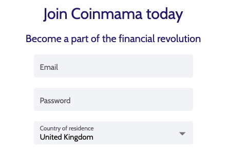 Coinmama Sign in