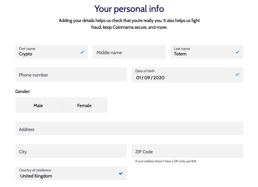 your personal info