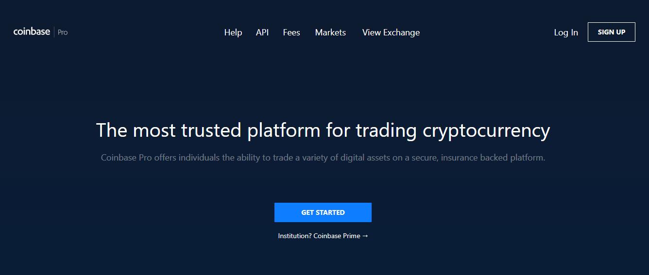 Coinbase Pro main page