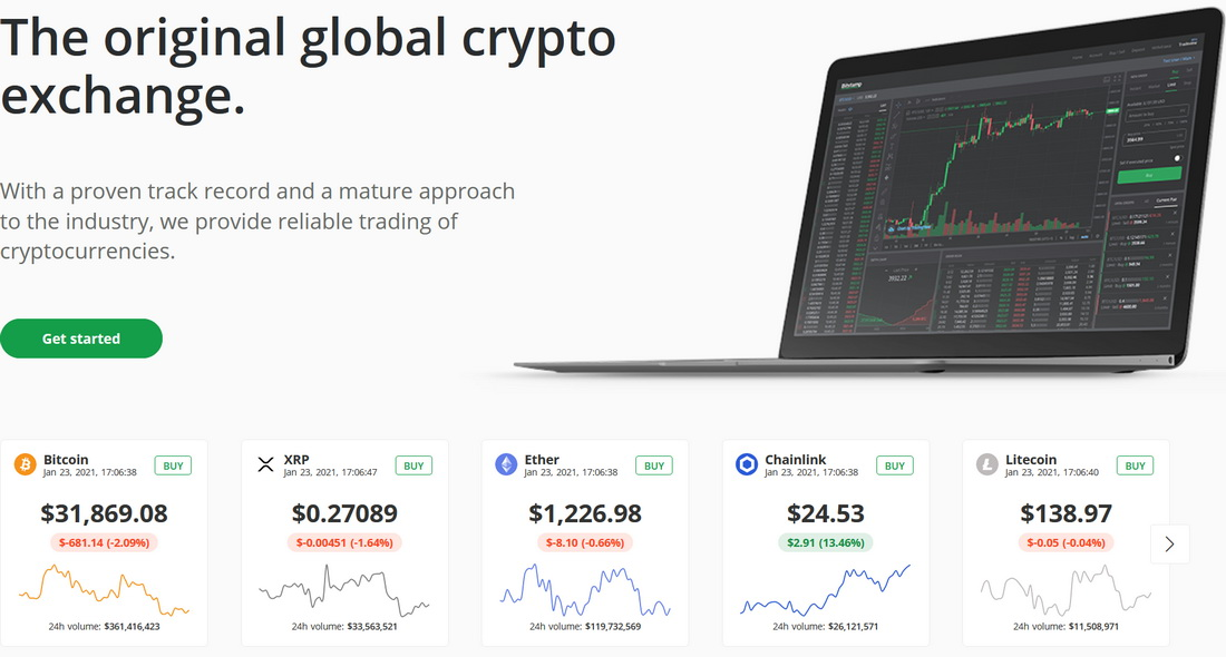 Bitstamp main page