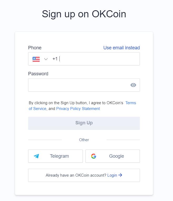 OKcoin exchange sign up