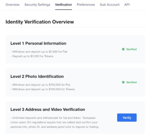 OKcoin verification