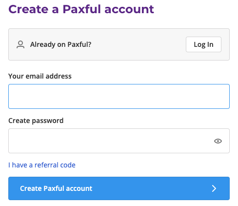 create paxful account