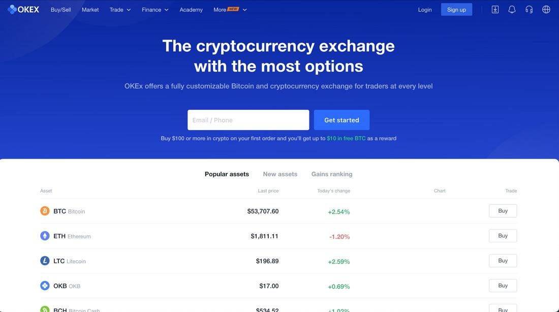 OKEx exchange homepage
