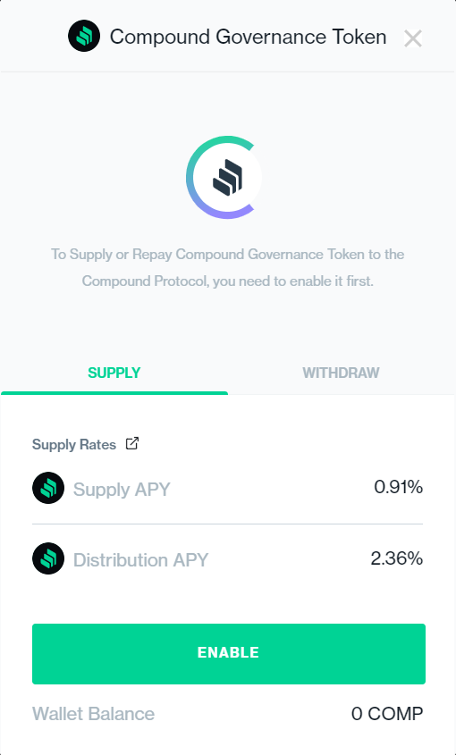 Compound governance token supply